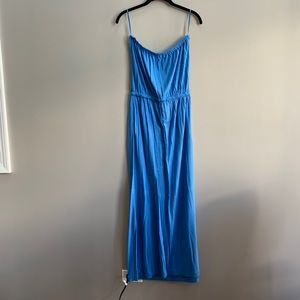 J. Crew Blue Strapless Jersey Maxi Dress